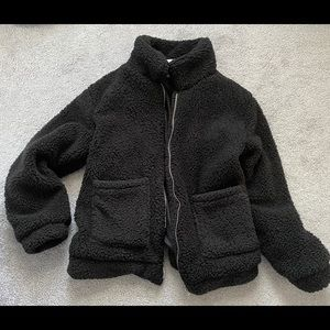 Jackets & Blazers - NWOT black boutique teddy jacket